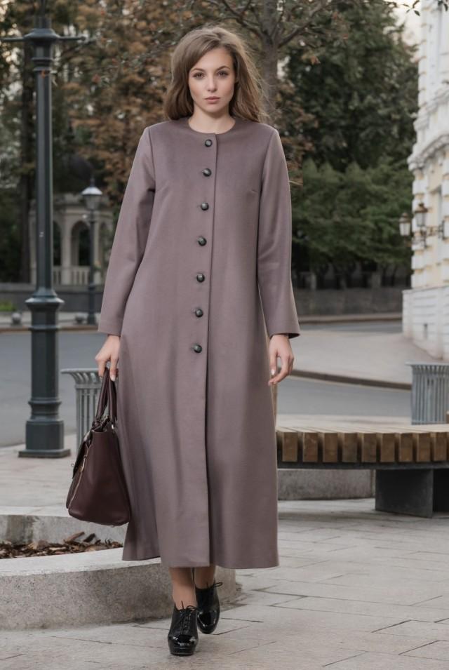Женское демисезонное пальто шерсть кашемир