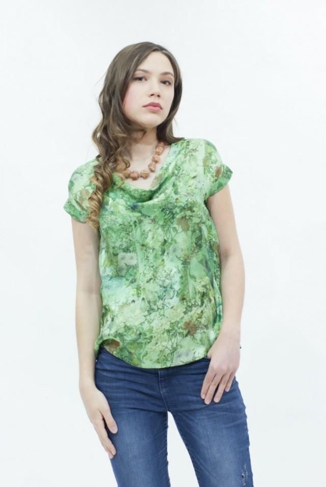 блузка с коротким рукавом из натурального шелка
