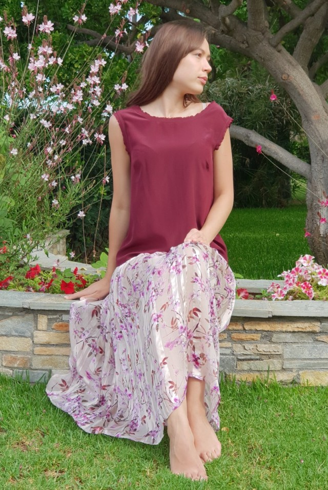 летняя светлая юбка из шелка
