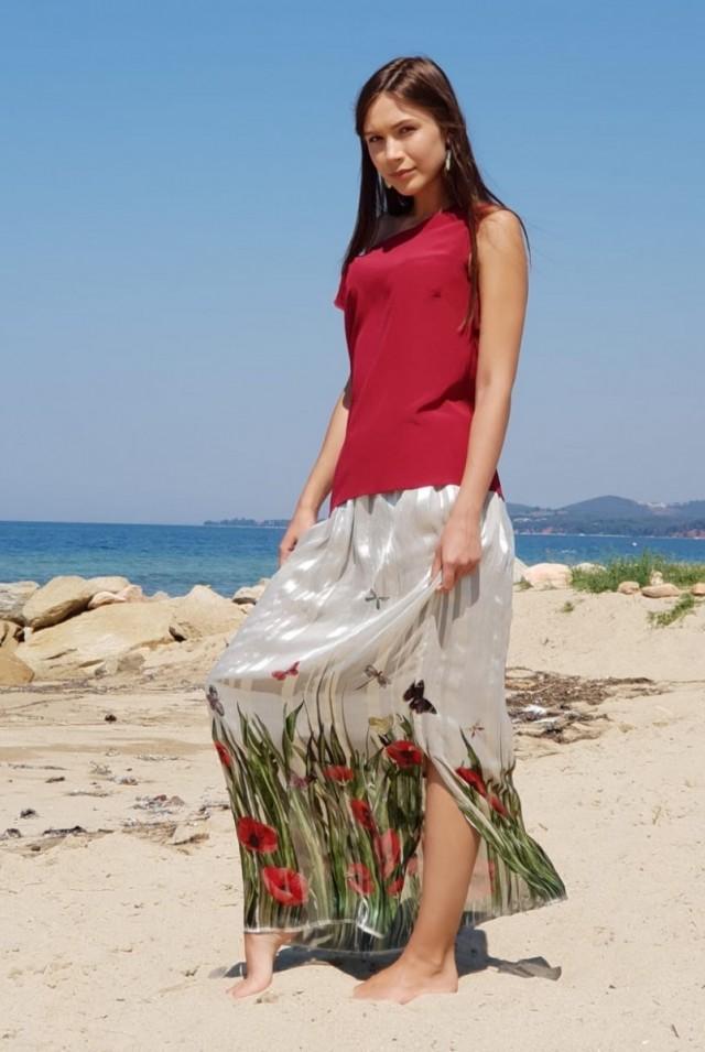 красивая летняя длинная юбка шелк