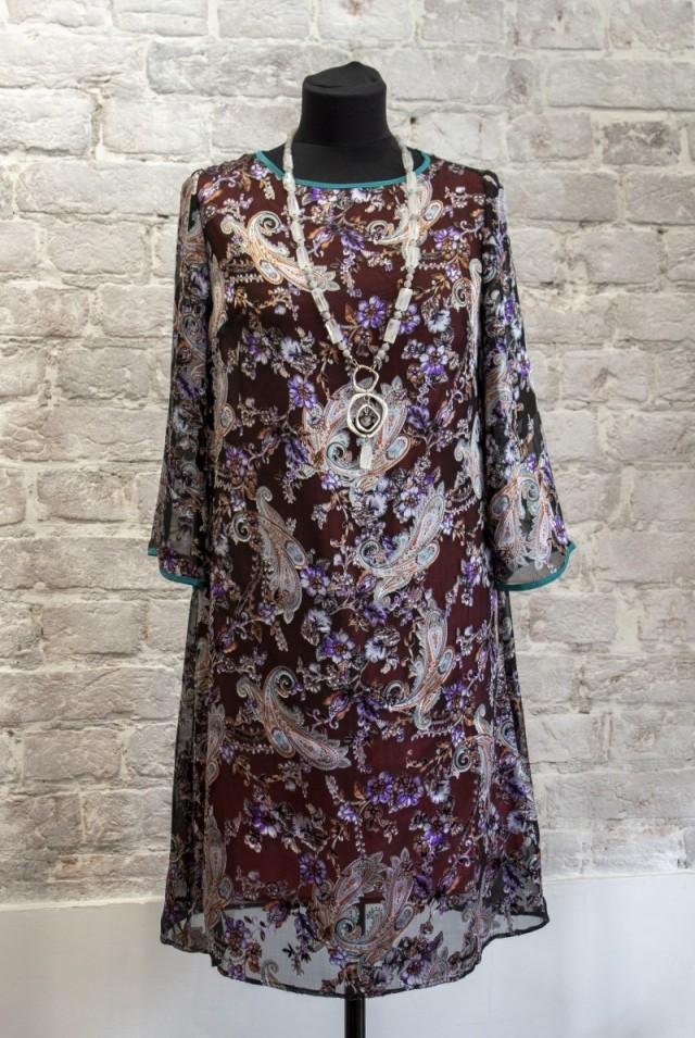 платье из шелка до колена
