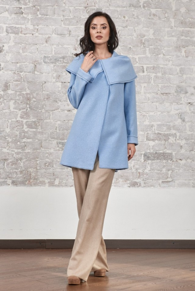 голубое пальто из лодена без подкладки