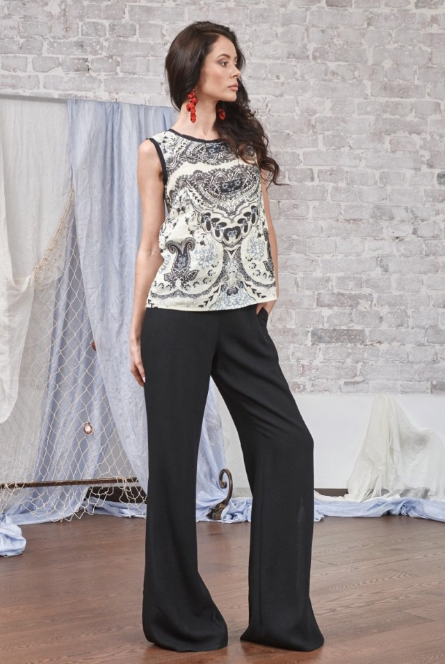 женские черные льняные летние брюки