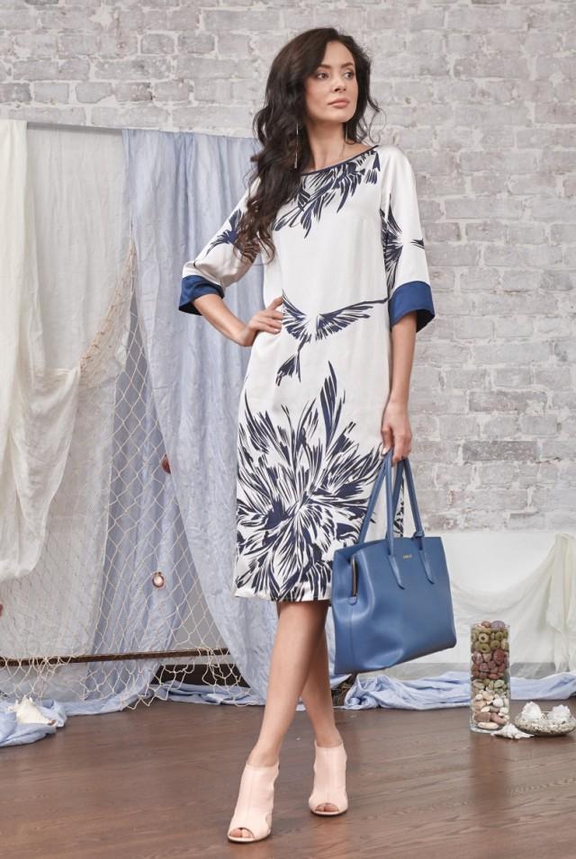 нарядное платье из шелка белое синее
