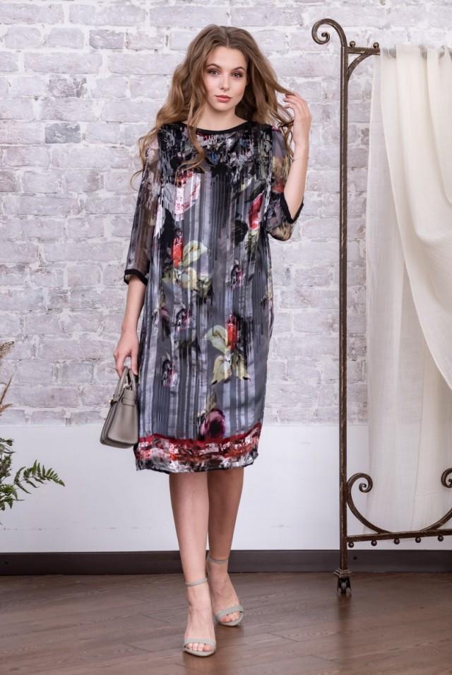шифоновое платье миди из шелка