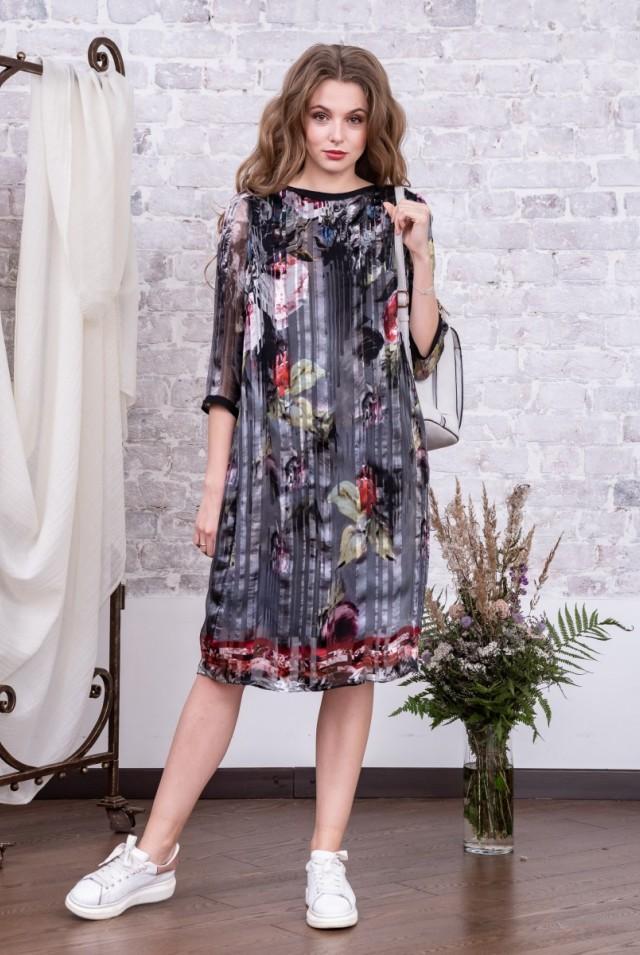 платье шифоновое миди натуральный шелк
