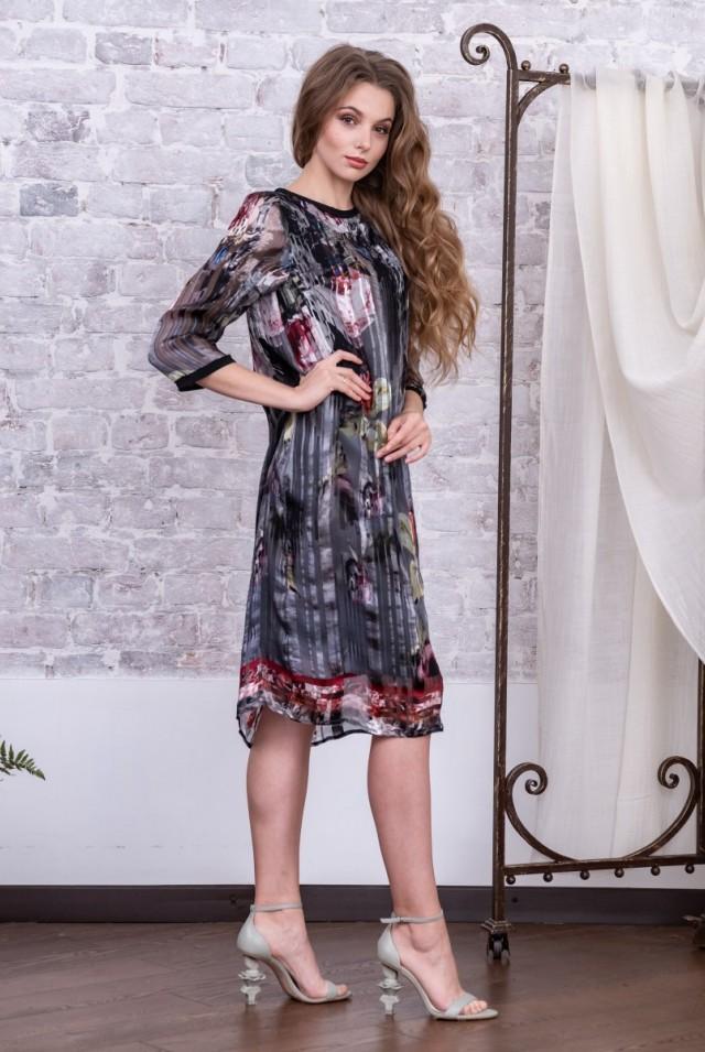 шифоновое платье миди из натурального шелка