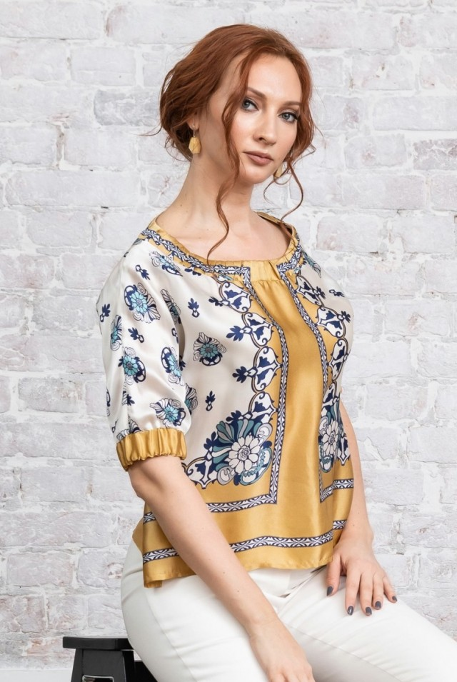 шелковая блузка белая желтая