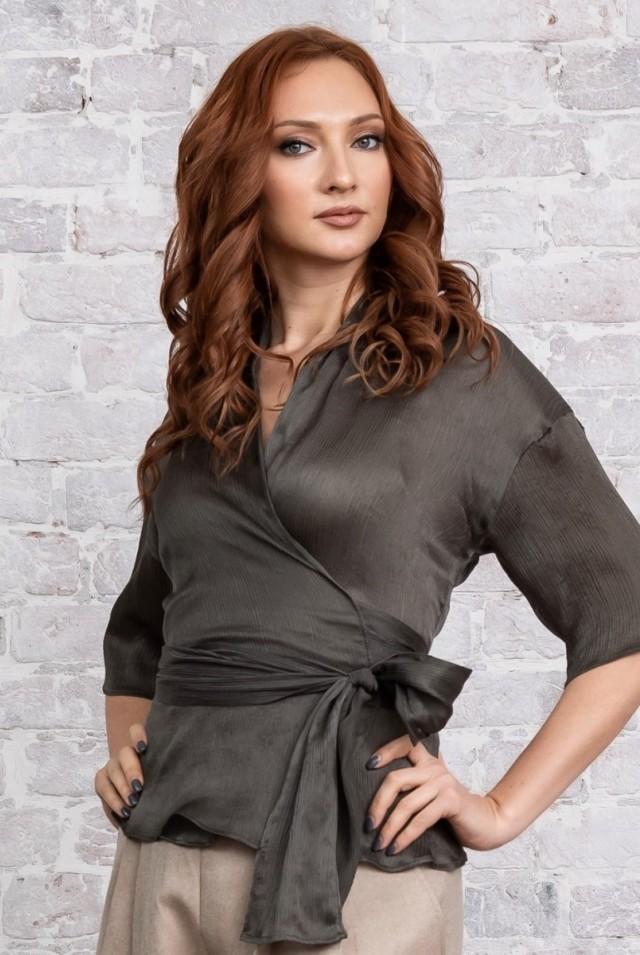 блузка на запах натуральный шелк