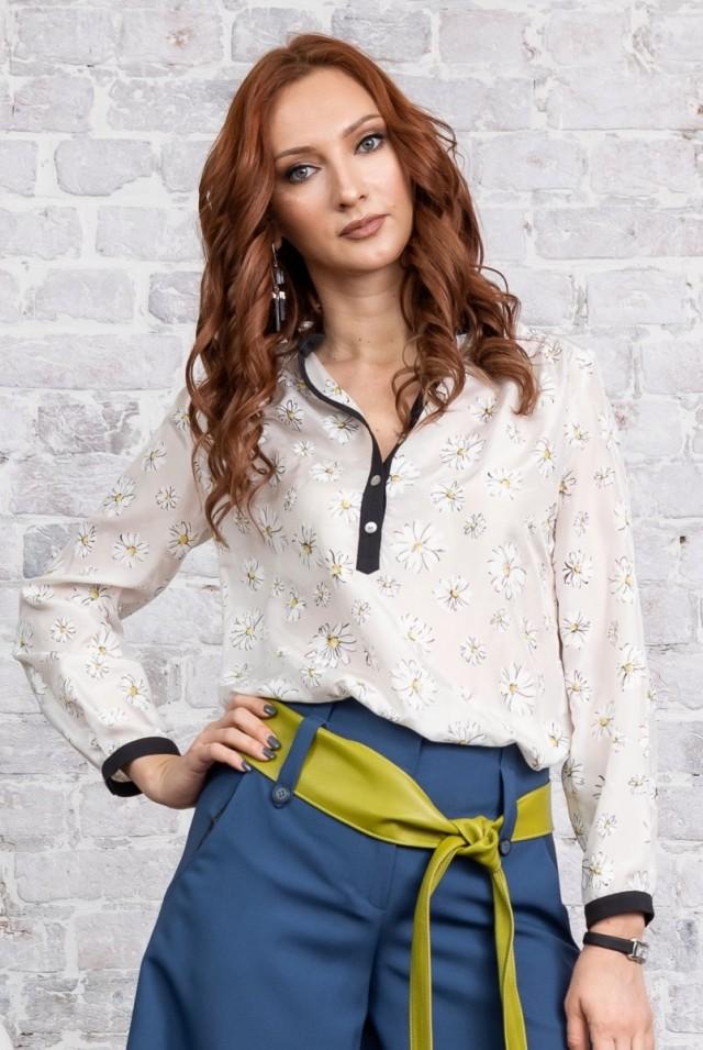 белая с черным блузка натуральный шелк