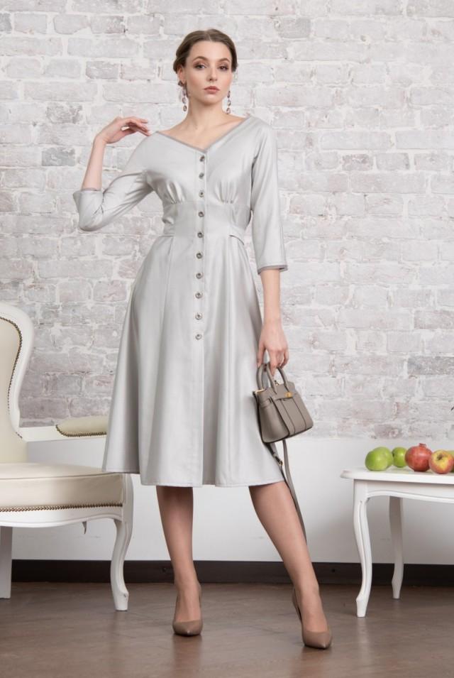 шелковое офисное платье