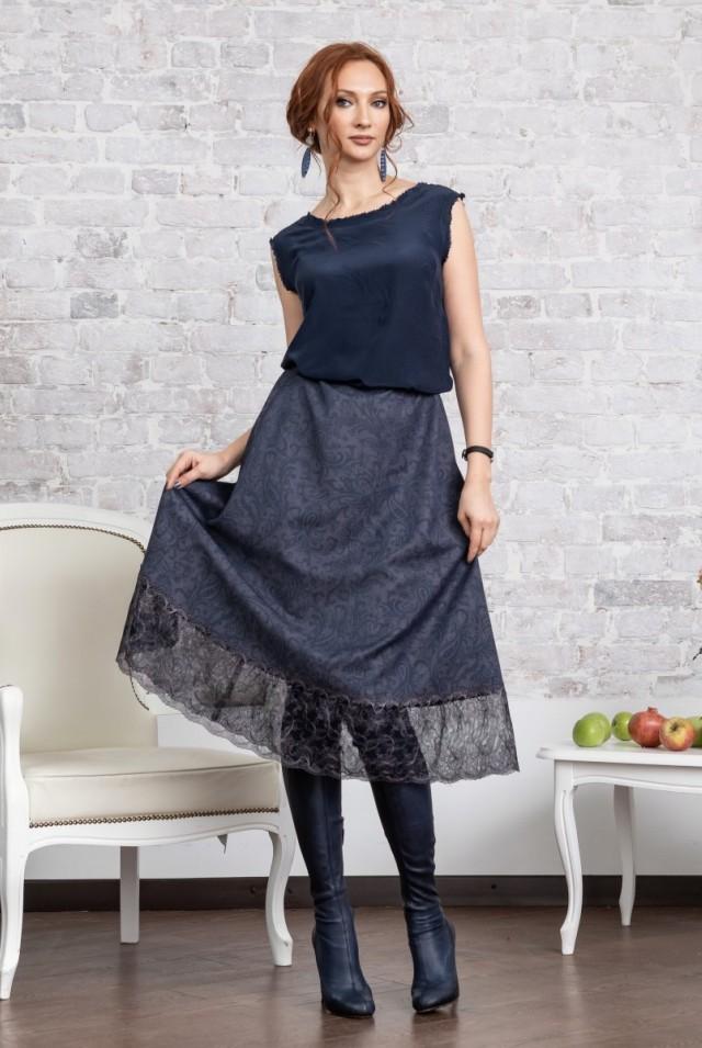шерстяная юбка с кружевом