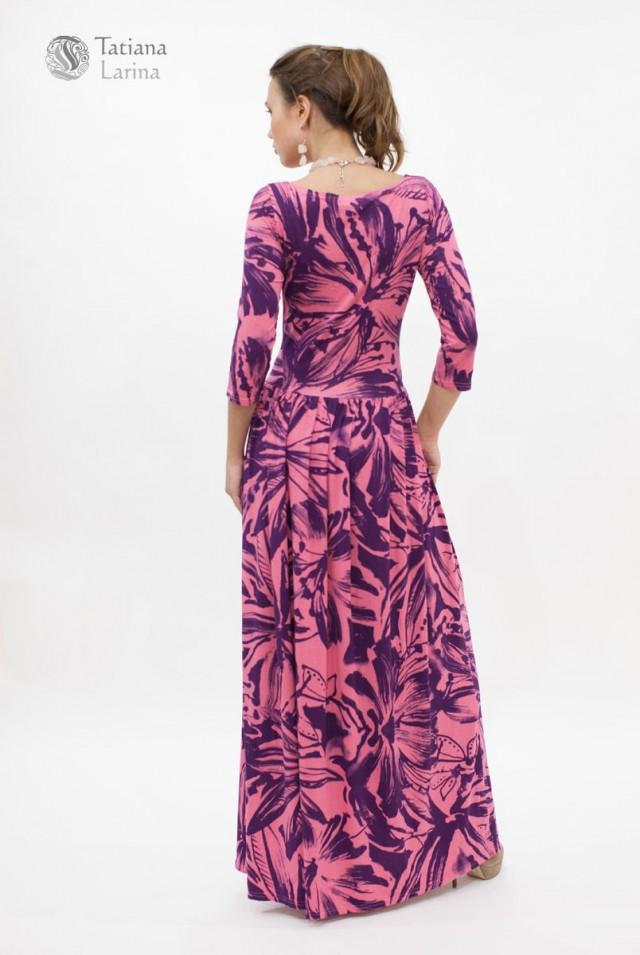 розовое платье в пол из трикотажа