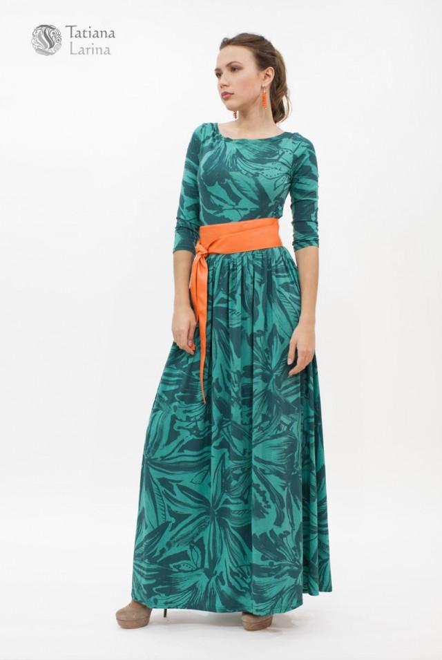 длинное зеленое платье из вискозы