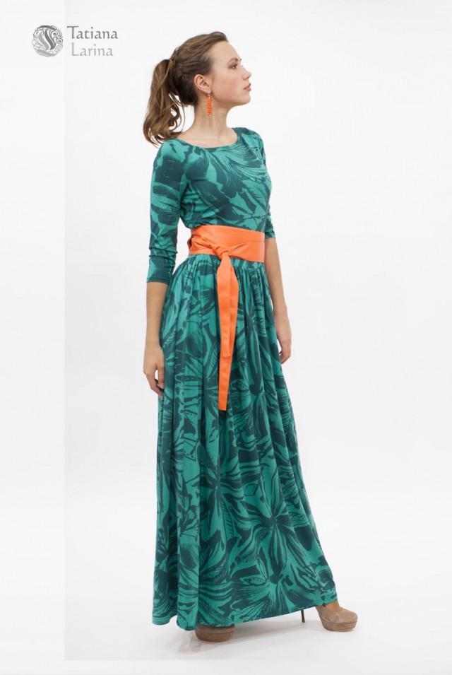 платье в пол из вискозы зеленого цвета