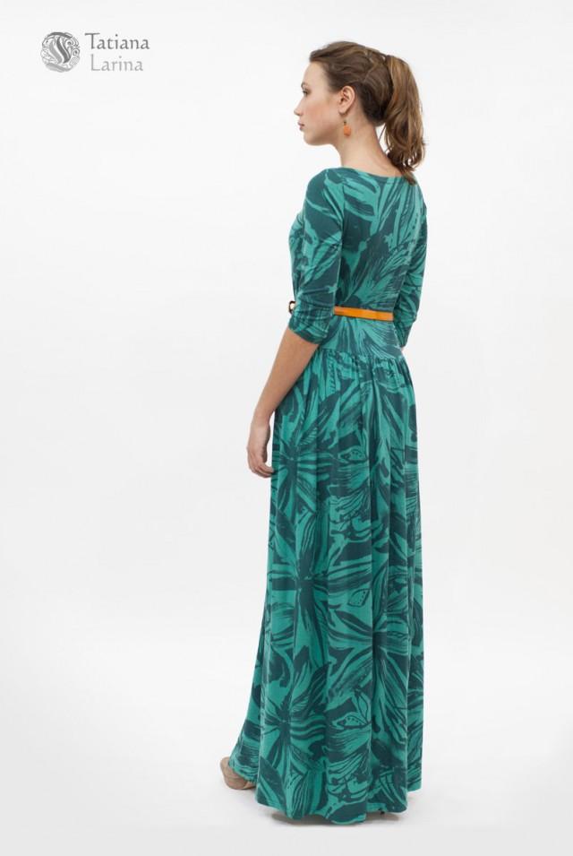 трикотажное зеленое платье в пол