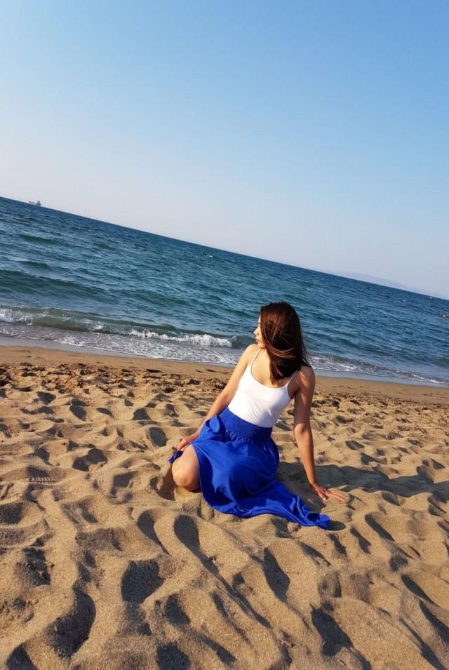 синяя юбка в пол летняя