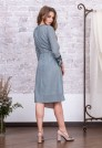 платье для офиса из натуральной ткани серое голубое