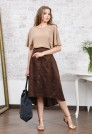 коричневая шелковая юбка