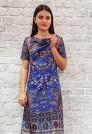 Шелковое нарядное платье синего цвета