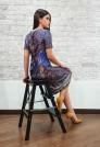 Нарядное синее платье из натурального шелка