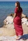 красное шелковое платье в пол