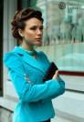 женский пиджак из вельвета голубой